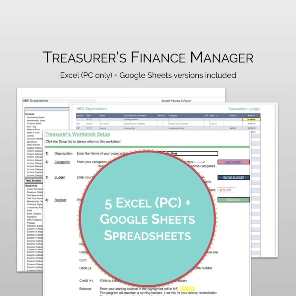 Pta Accounts Spreadsheet For Pta / Pto Treasurer's Finance Manager: Treasurer Software  Etsy