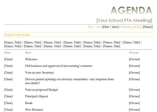 Pta Accounts Spreadsheet Throughout Pta Meeting Agenda Template