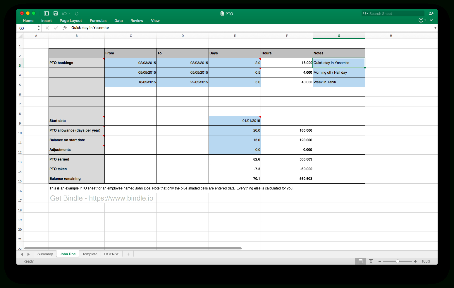 Pto Spreadsheet Inside Free Time Off Tracker  Bindle