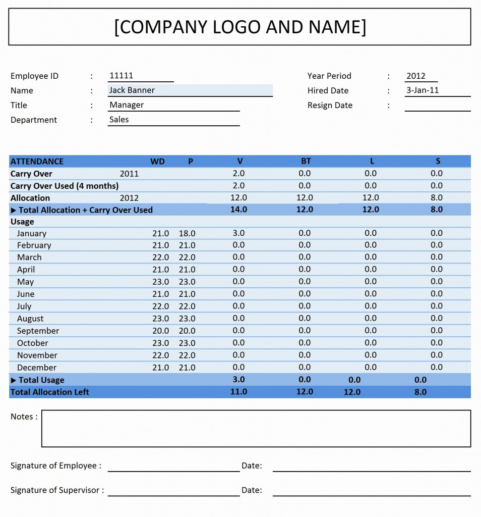 Pto Tracking Spreadsheet Excel Within Excel Pto Tracker Template New Vacation And Sick Time Tracking