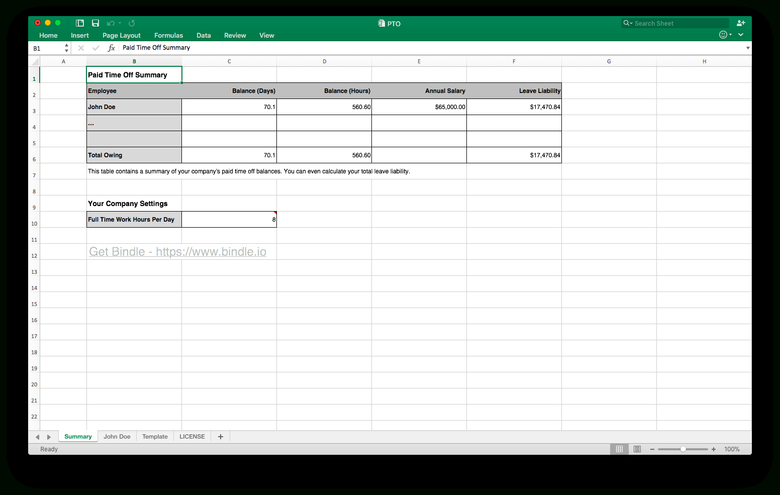 Pto Tracking Spreadsheet For Free Time Off Tracker  Bindle