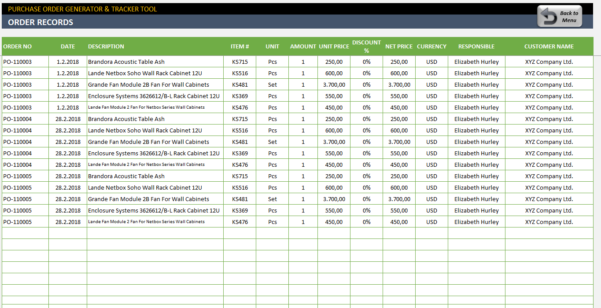 Purchase Order Tracking Spreadsheet With Purchase Order Template  Excel Po Generator  Tracker Tool