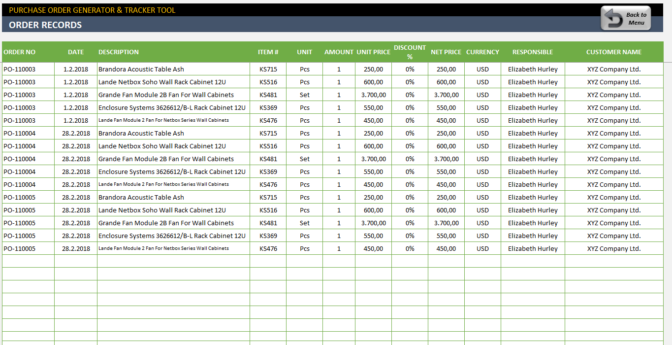 purchase order tracking spreadsheet google spreadshee free