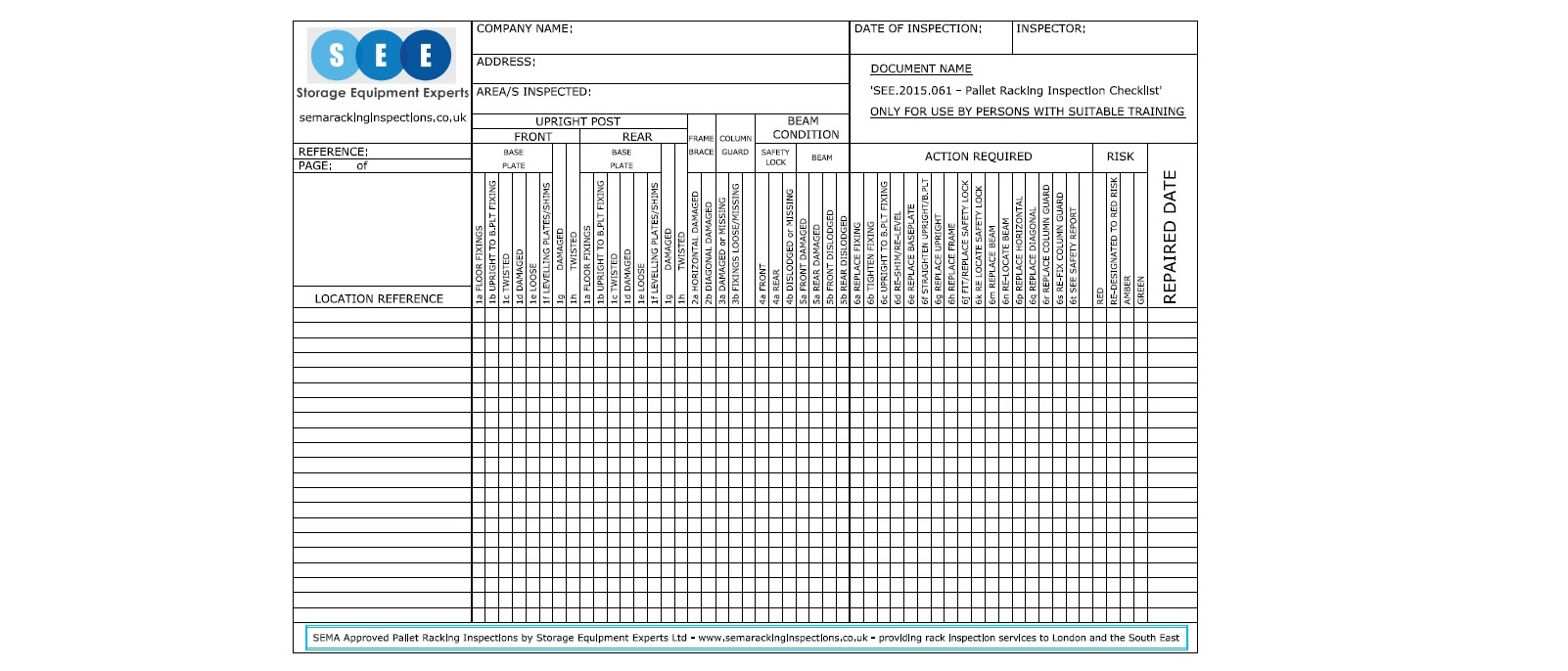 Puwer Risk Assessment Spreadsheet throughout Get A Free Racking Inspection Checklist  Sema Approved Racking