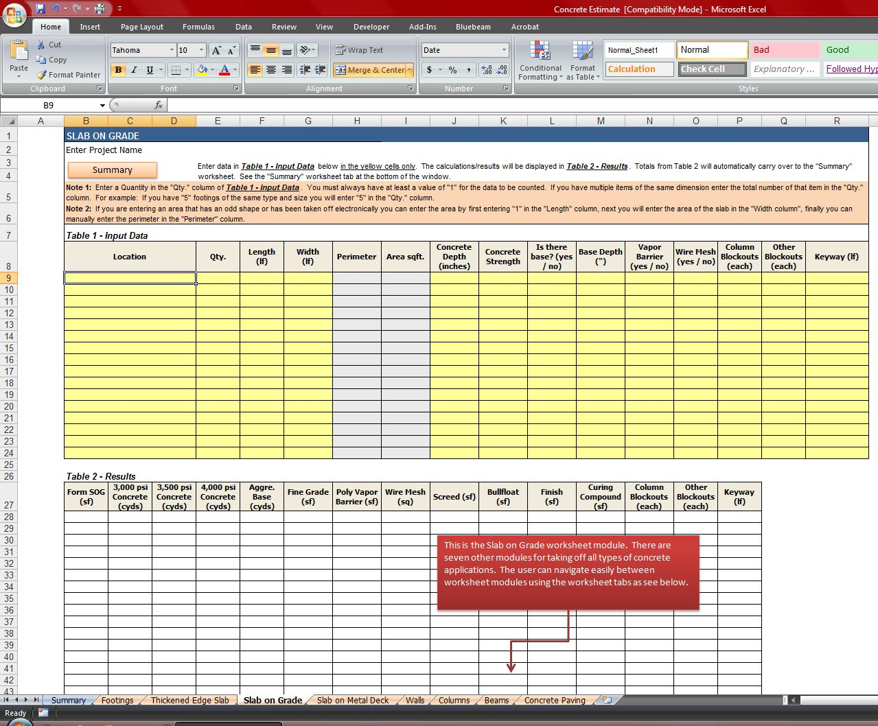 Quantity Surveyor Excel Spreadsheets Throughout Concrete Quantity Takeoff Excel Spreadsheet  Homebiz4U2Profit