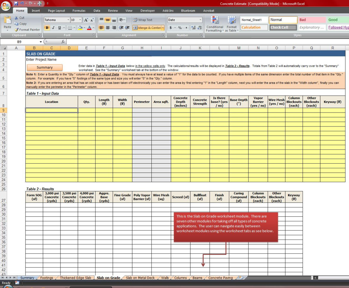 Quantity Takeoff Excel Spreadsheet Inside Concrete Quantity Takeoff Excel Spreadsheet  Homebiz4U2Profit