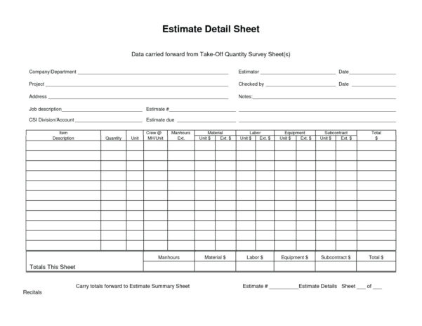 Quantity Takeoff Excel Spreadsheet Regarding Template: Concrete Proposal Template