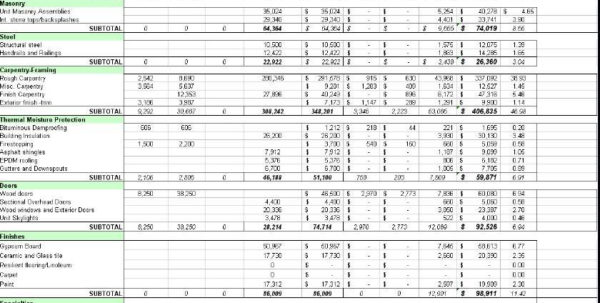 Quantity Takeoff Spreadsheet In Construction Material Take Off Spreadsheet And Quantity Takeoff