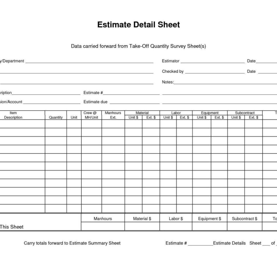 Quantity Takeoff Spreadsheet With Detail Sheet Data Carried Forward From Quantity Takeoff Regarding
