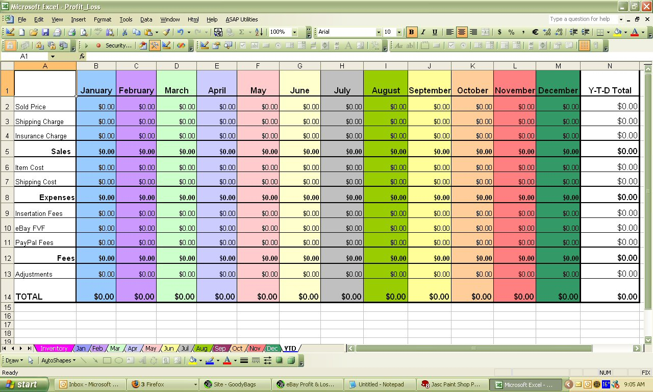 Quattro Spreadsheet For Ebay Profit  Loss Spreadsheet  Excel / Quattro