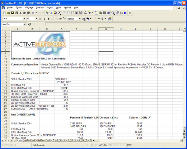 Quattro Spreadsheet Inside Activewin: Corel Wordperfect Office 2002 Standard  Review