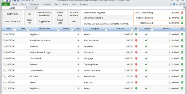 Quicken Spreadsheet In Excel Checkbook Software  Etsy