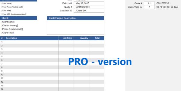 Quote Spreadsheet Regarding Quote Spreadsheet Template [Pro Version]  Excelsupersite