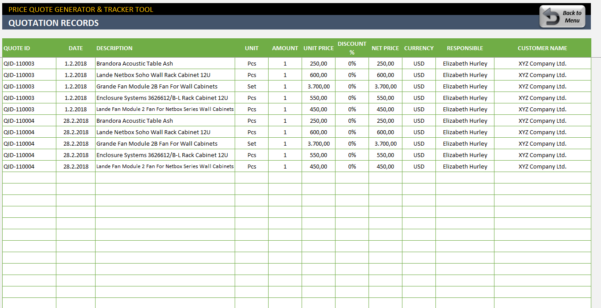 Quote Tracking Excel Spreadsheet Pertaining To Price Quote Template  Excel Proforma Invoice Generator  Tracker Tool