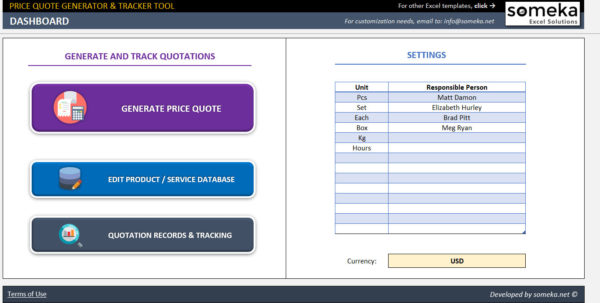 Quote Tracking Excel Spreadsheet Regarding Price Quote Generator And Tracker Business Excel Spreadsheet  Etsy