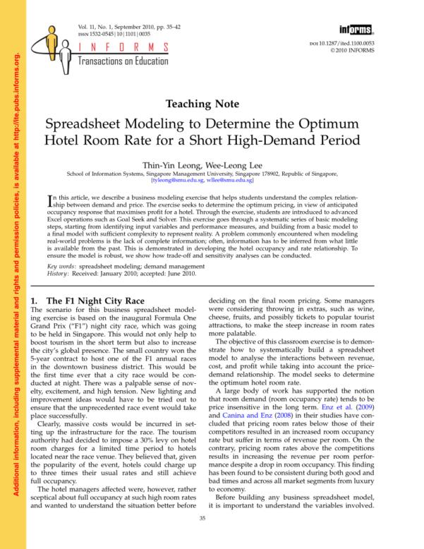 Race Night Spreadsheet Throughout Pdf Teaching Note —Spreadsheet Modeling To Determine The Optimum
