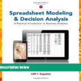 Ragsdale Spreadsheet Modeling Pertaining To Pdf Spreadsheet Modeling And Decision Analysis: A Practical