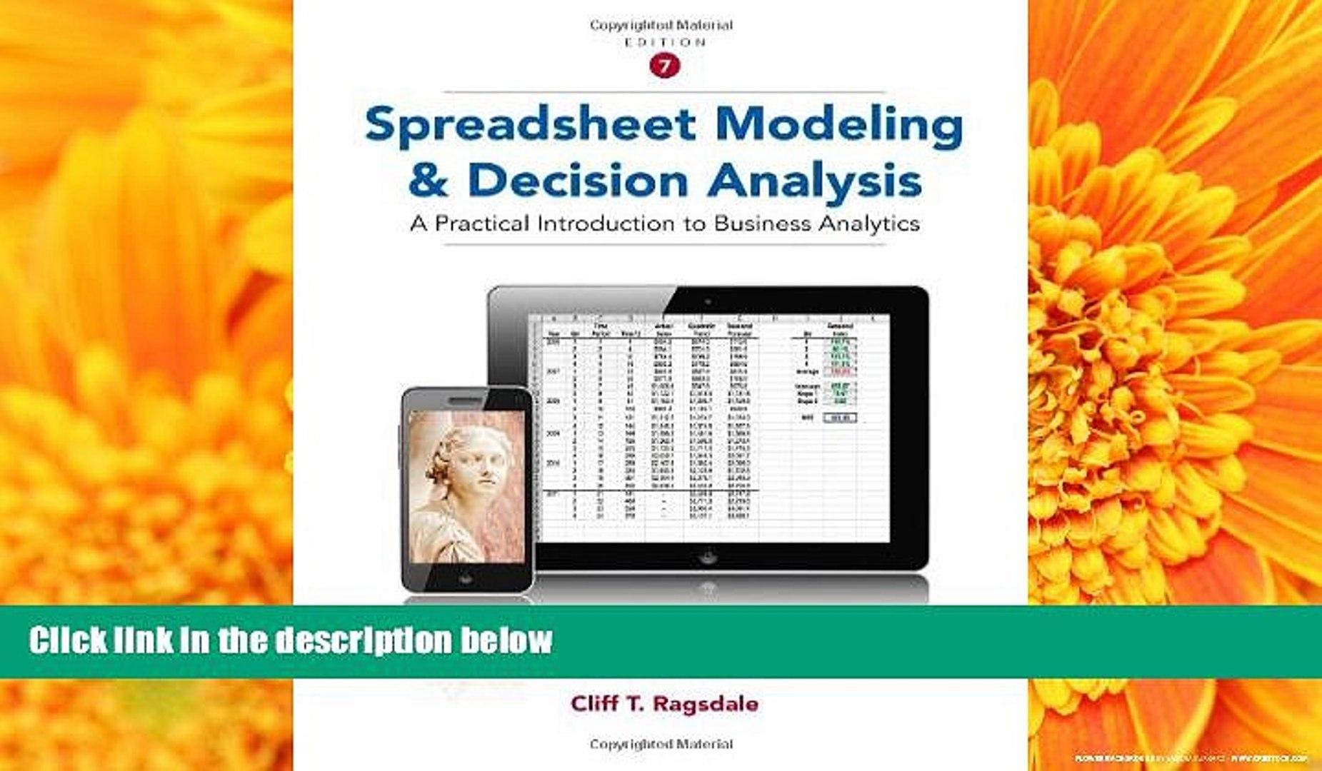 Ragsdale Spreadsheet Modeling pertaining to Pdf Spreadsheet Modeling And Decision Analysis: A Practical