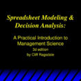 Ragsdale Spreadsheet Modeling Pertaining To Spreadsheet Modeling  Decision Analysis:  Ppt Download Ragsdale Spreadsheet Modeling Printable Spreadshee Printable Spreadshee ragsdale spreadsheet modeling and decision analysis pdf