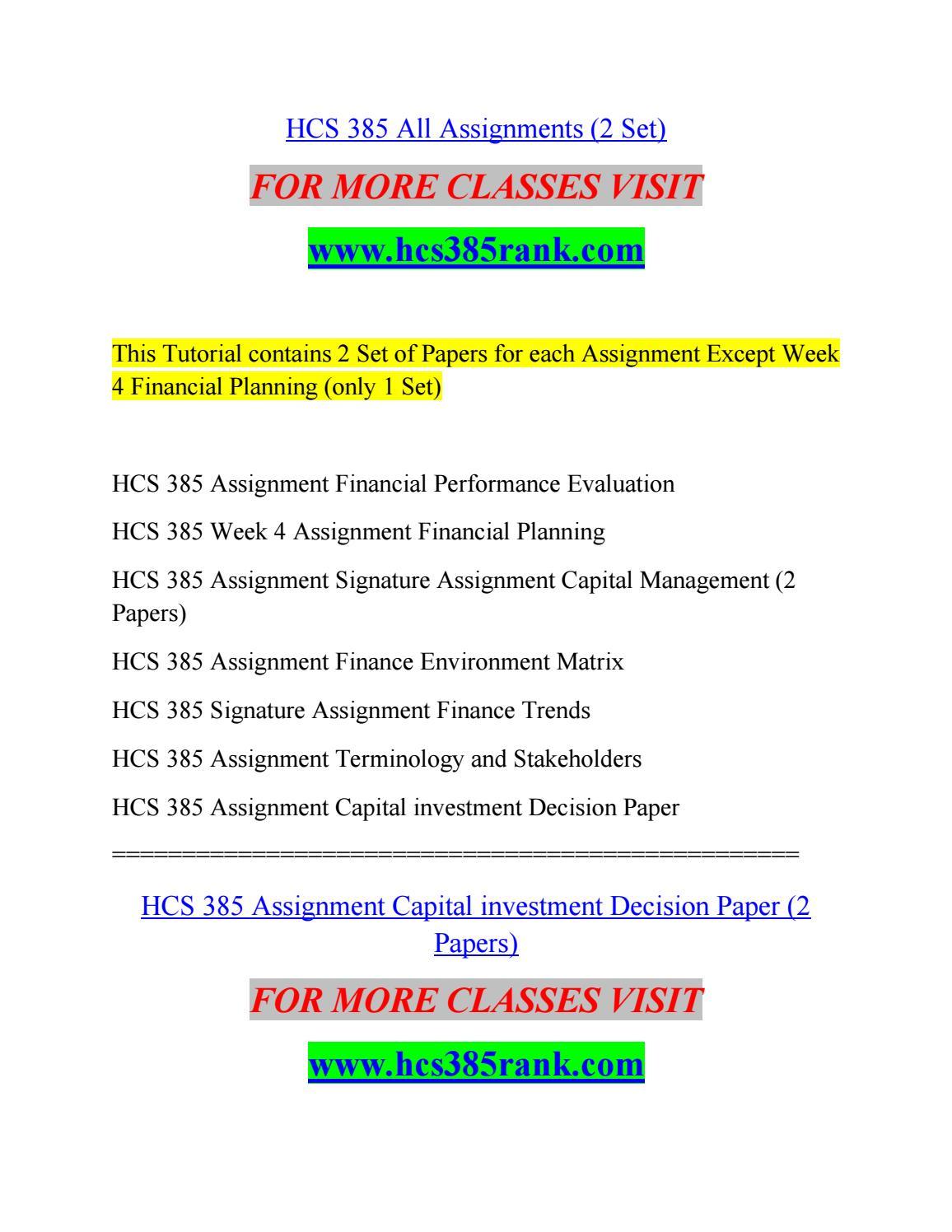 Ratio Analysis Spreadsheet Hcs 385 pertaining to Hcs 385 All Assignments 2 Setvmsbn  Issuu