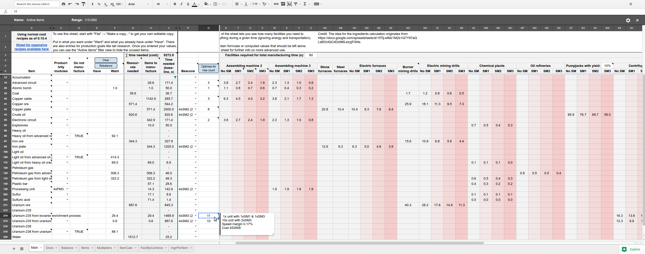 Raw Feeding Spreadsheet Inside Production Calculator Google Sheet [0.16]  Factorio Forums