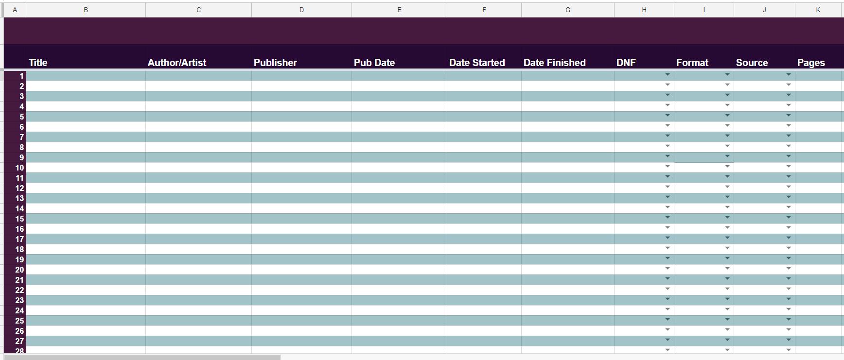 Reading List Spreadsheet Inside The Bigger, Badder 2019 Book Tracking Spreadsheet