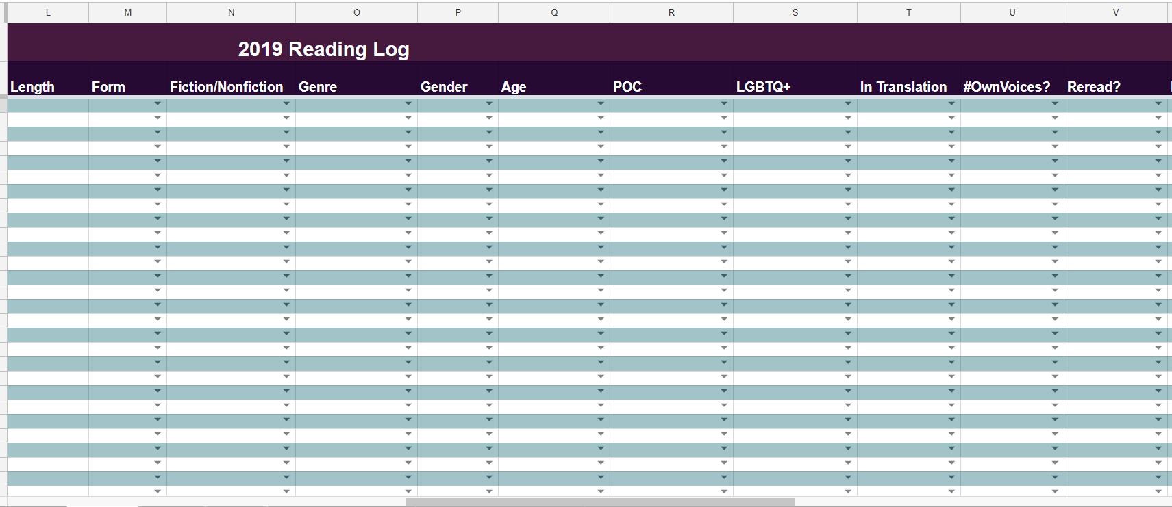 Reading List Spreadsheet intended for The Bigger, Badder 2019 Book Tracking Spreadsheet