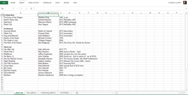 Reading List Spreadsheet Throughout Notsorandom Reads  Cheap Thrills