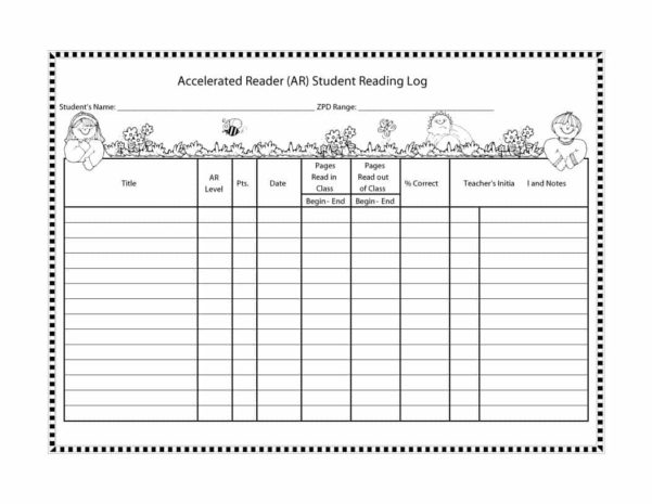 Reading Log Spreadsheet In 47 Printable Reading Log Templates For Kids, Middle School  Adults