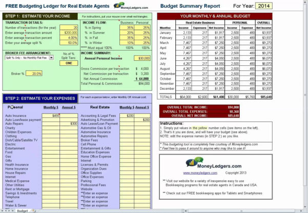 Real Estate Agent Budget Spreadsheet With Free Budgeting Spreadsheet For Real Estate Agents  Bookkeeping Tips