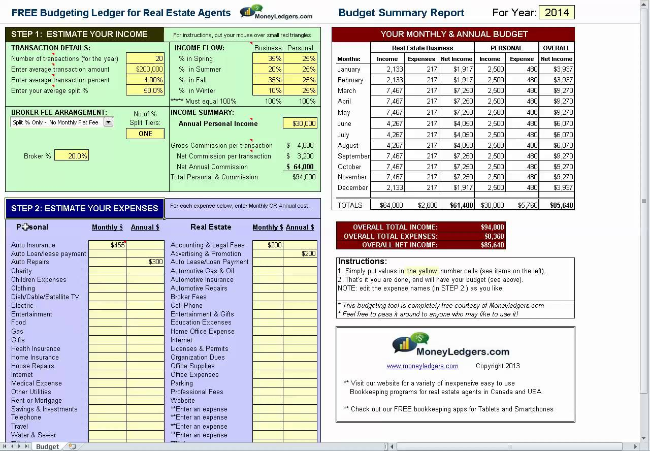 Real Estate Budget Spreadsheet Inside Free Budgeting Spreadsheet For Real Estate Agents  Bookkeeping Tips