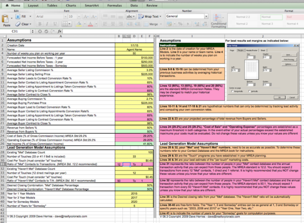 Real Estate Business Planning Spreadsheet With Regard To The Millionaire Real Estate Agent 4 Models Spreadsheet  Keller