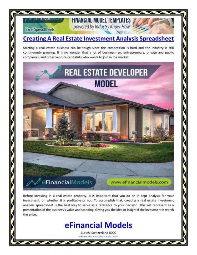 Real Estate Development Analysis Spreadsheet With Regard To Real Estate Spreadsheet Analysis Commercial Market Rental Excel