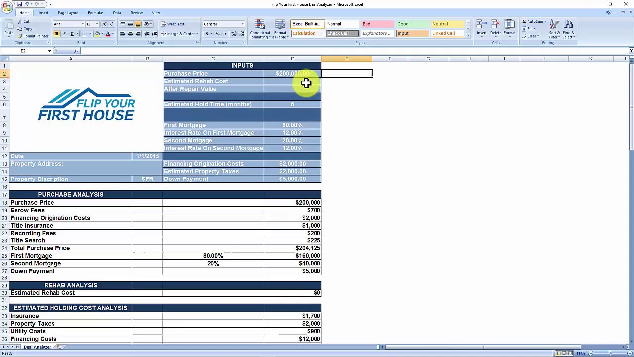Real Estate Flipping Excel Spreadsheet Inside House Flipping Spreadsheet 4Z New Rental Dashboard Youtube
