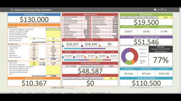 Real Estate Spreadsheet In Real Estate Flip Spreadsheet  Aljererlotgd