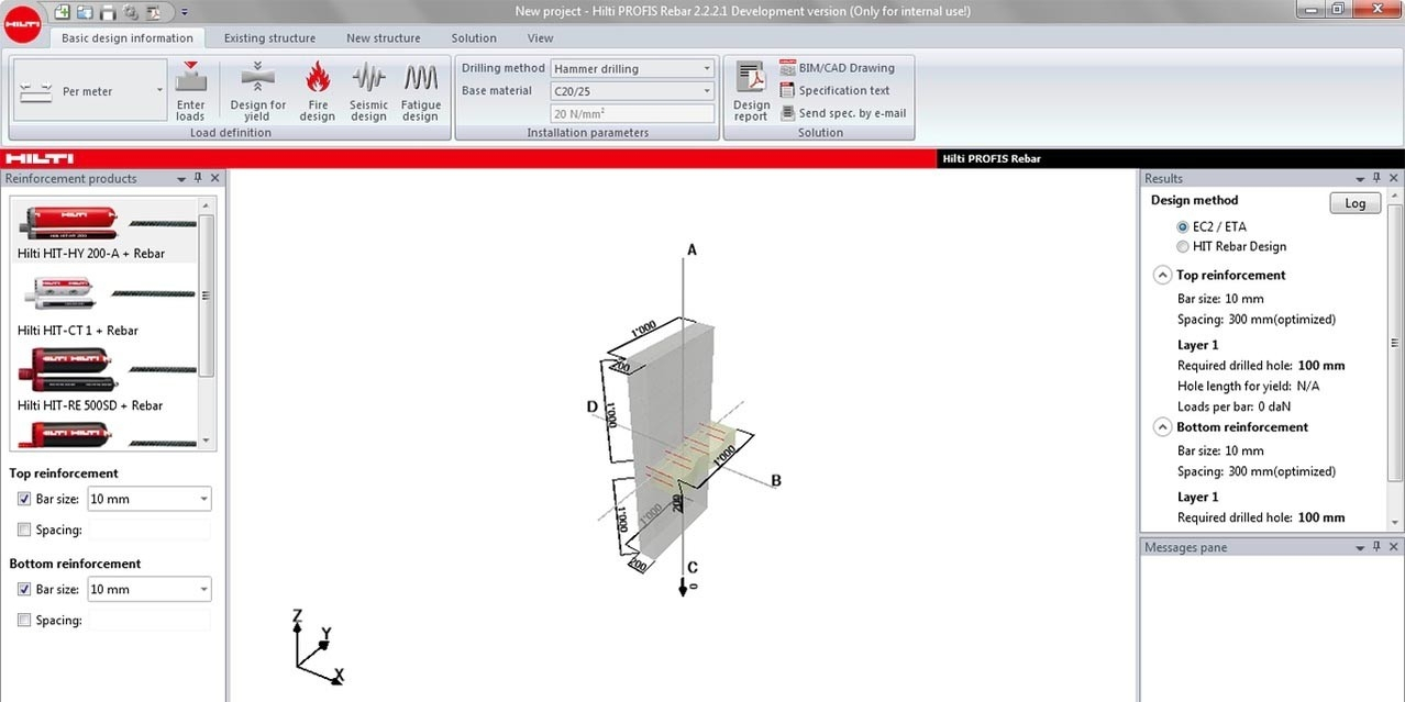 Rebar Development Length Spreadsheet regarding Rebar Design Center  Hilti Usa