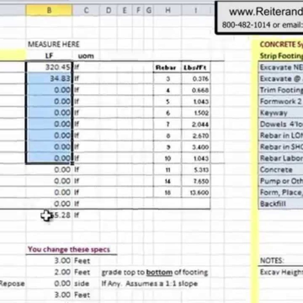 Rebar Estimate Excel Spreadsheet Pertaining To Excel Spreadsheet For Construction Estimating  Laobingkaisuo