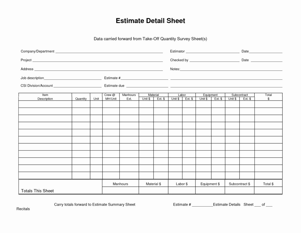 Rebar Estimate Excel Spreadsheet Regarding Structuraleel Takeoff Spreadsheet Unique Fabrication Example Of