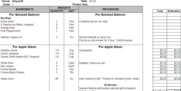Recipe Costing Spreadsheet For Excel Recipe Template For Chefs  Chefs Resources