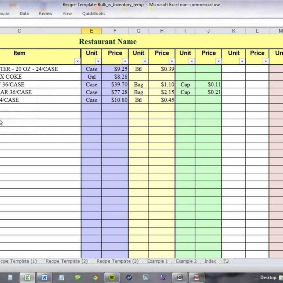 Recipe Costing Spreadsheet With Regard To Using Excel For Recipe Costing And Inventory Linking  Youtube In