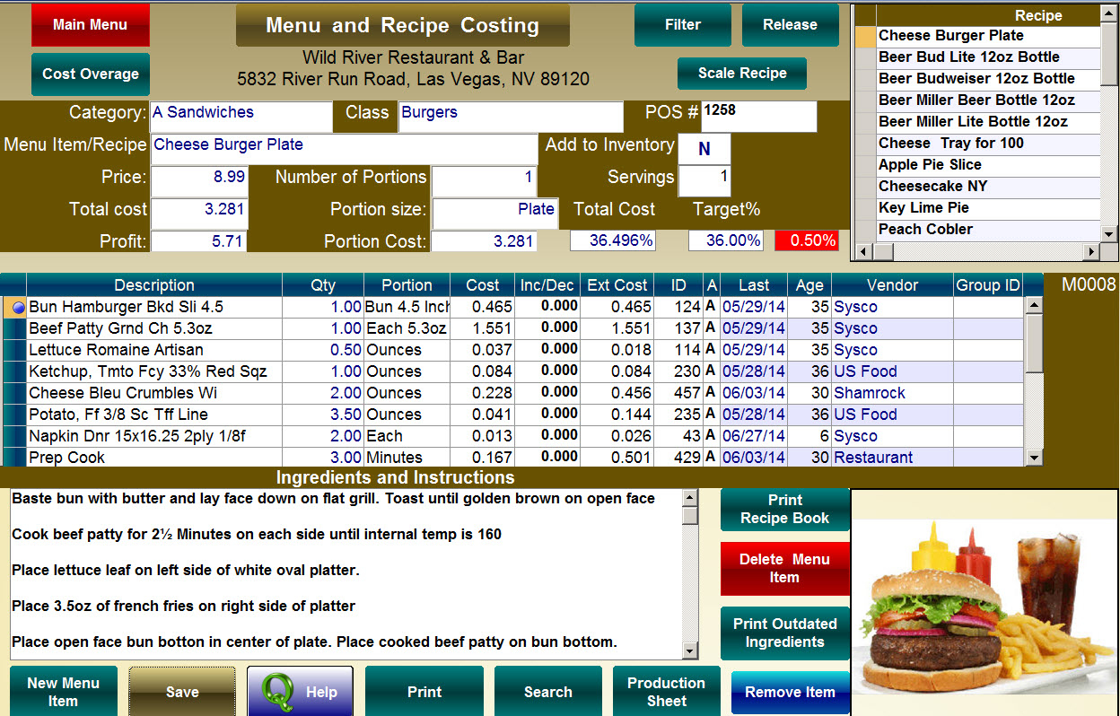 Recipe Costing Spreadsheet Within Food Cost Calculator For Accurate Food Cost Percentage