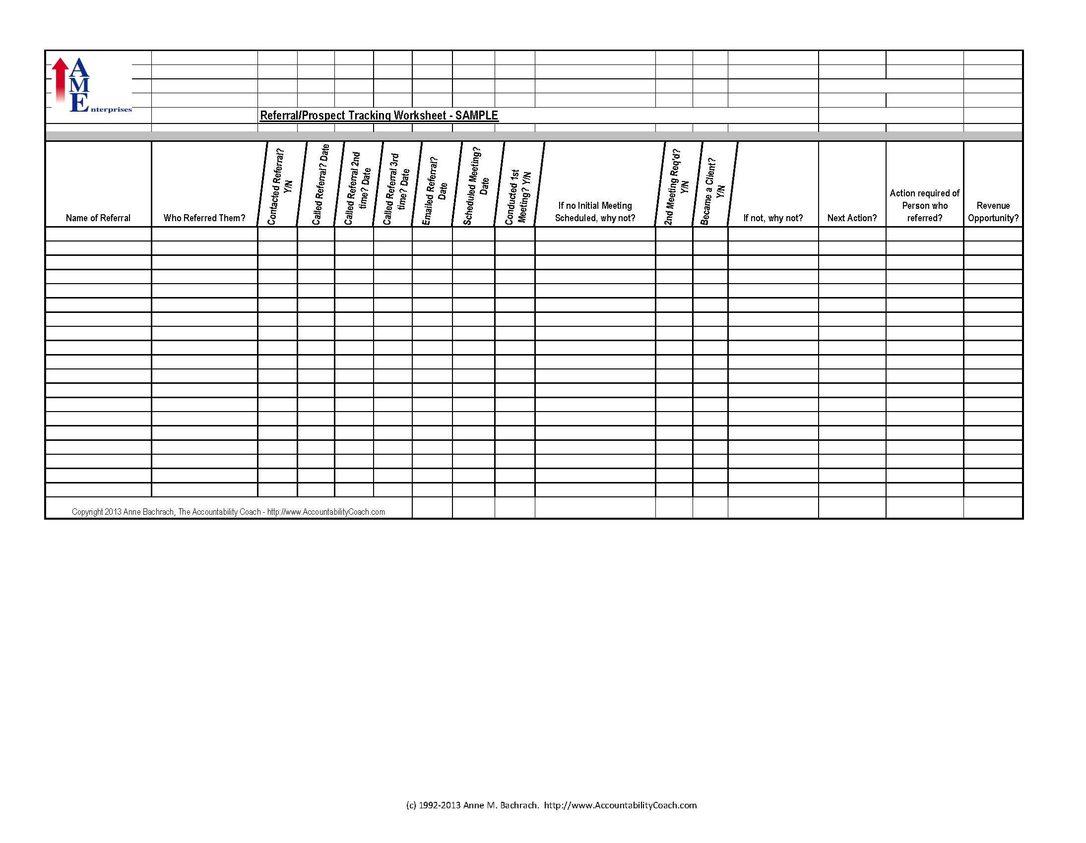 Referral Tracking Spreadsheet Intended For Referral/prospect Tracking Spreadsheet – Sample – Free Download