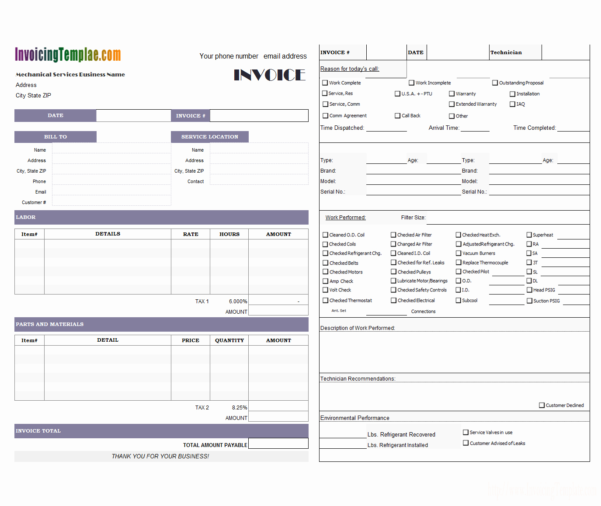 Refrigerant Tracking Spreadsheet In Hvac Service Order Invoice Template Spreadsheet Free Forms