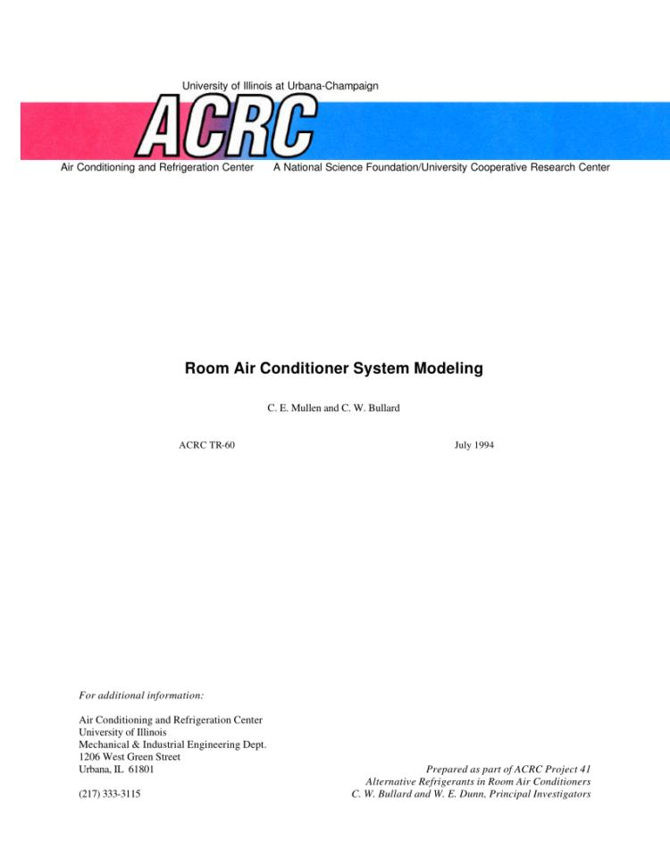 Refrigerant Tracking Spreadsheet Regarding Pdf Room Air Conditioner System Modeling