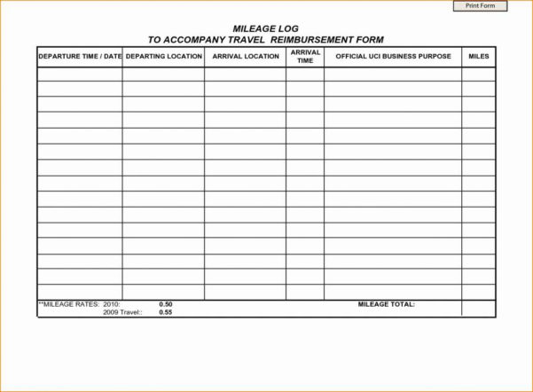 Reimbursement Spreadsheet Inside Mileage Spreadsheet For Irs And Fresh 50 Awesome Mileage
