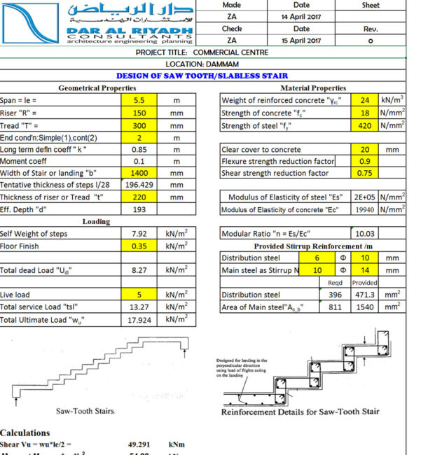 Reinforced Concrete Slab Design Spreadsheet Pertaining To Slabless Staircase Design Spreadsheet Sawtooth Staircase  Civil