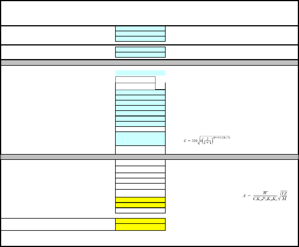 Relief Valve Sizing Spreadsheet Pertaining To Psv Pressure Safety Valve Sizing Calculation Rev 01 Xls