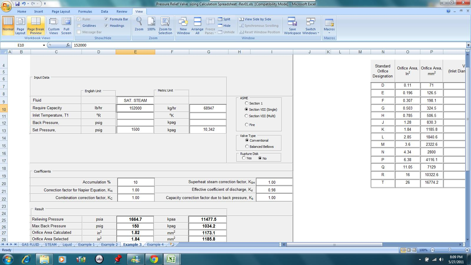 Relief Valve Sizing Spreadsheet With Kolmetz  Guidelines