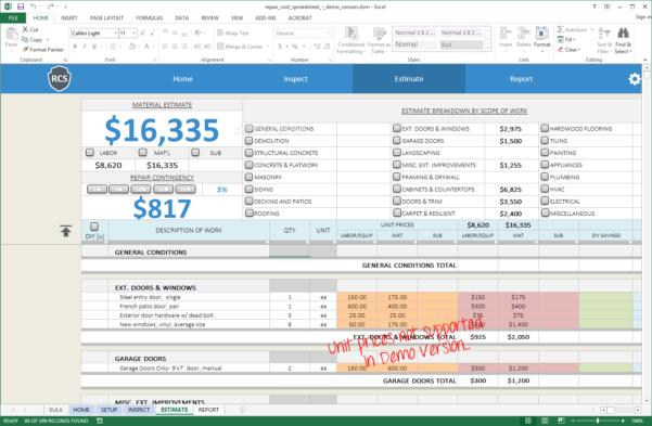 Remodel Spreadsheet In Download Remodel Cost Spreadsheet