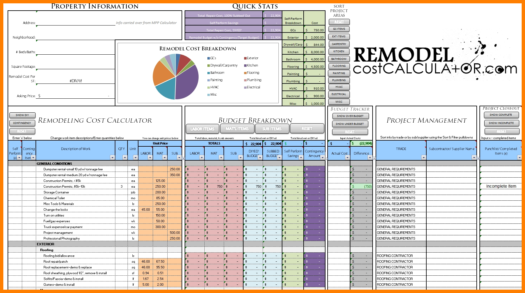 Renovation Budget Spreadsheet Regarding 6  Home Renovation Budget Spreadsheet Template  Credit Spreadsheet